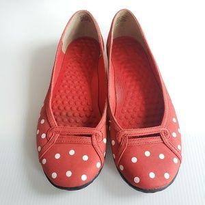 Clark's Privo Penny Red White Polka Dot Flats 7.5